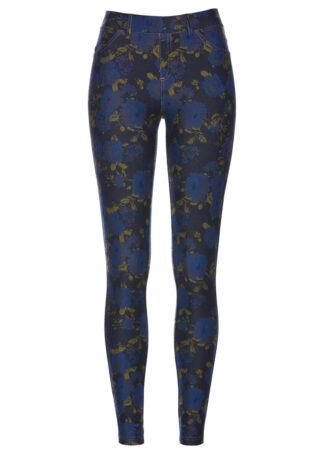 Jegginsy w kwiatowy deseń bonprix ciemnoniebiesko-niebieski w kwiaty