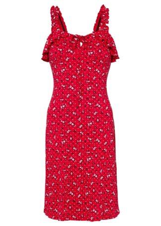 Sukienka z dżerseju z nadrukiem bonprix czerwony w kwiaty