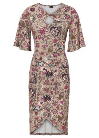 Sukienka ołówkowa z wycięciem bonprix piaskowy - paisley