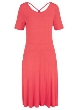 Sukienka z dżerseju o linii litery A bonprix koralowy