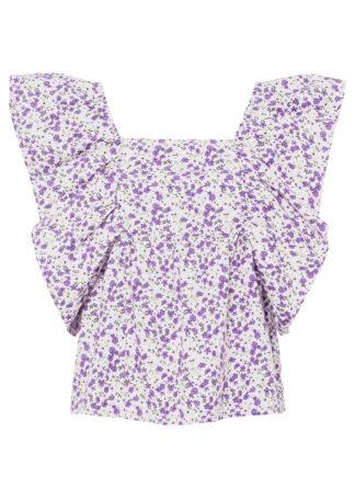 Bluzka z falbanami i kwiatowym nadrukiem bonprix biało-jasny bez w kwiaty