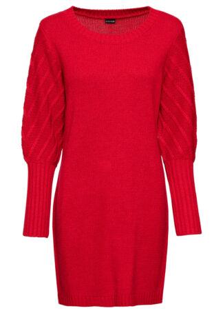 Sukienka dzianinowa bonprix czerwony