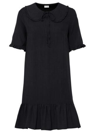 Sukienka koszulowa z zaokrąglonym kołnierzykiem bonprix czarny