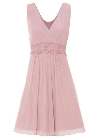 Sukienka siatkowa z koronką bonprix różowobrązowy