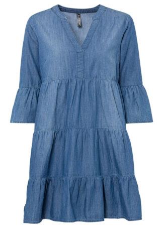 """Sukienka dżinsowa z falbanami bonprix niebieski """"stone"""""""