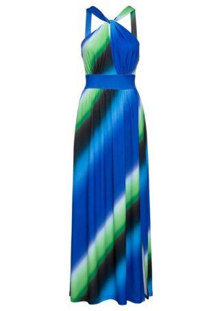 Długa sukienka bonprix niebiesko-zielono-czarny w paski