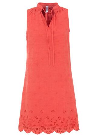 Sukienka z ażurowym haftem bonprix czerwony
