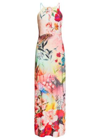 Długa sukienka letnia w kwiaty bonprix jasnoróżowy w kwiaty