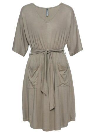 Sukienka z wiązanym paskiem i kieszeniami bonprix jasnooliwkowy