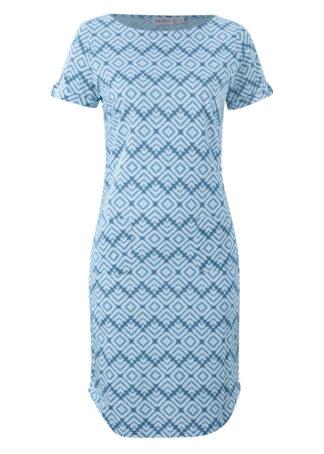 Sukienka z dżerseju bonprix niebieski perłowy z nadrukiem