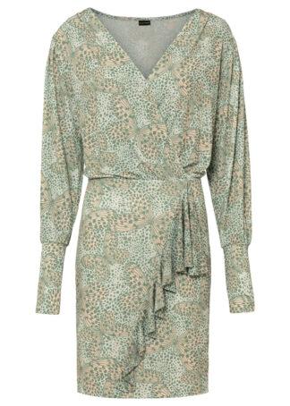 Sukienka z założeniem kopertowym bonprix szarozielony z nadrukiem