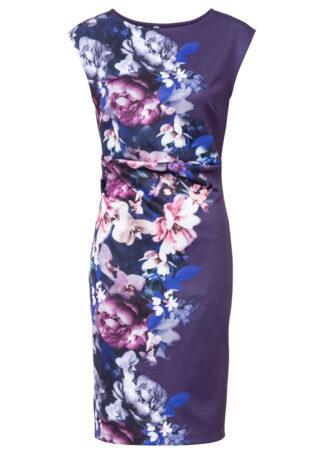 Sukienka ołówkowa w kwiaty bonprix lila w roślinny wzór