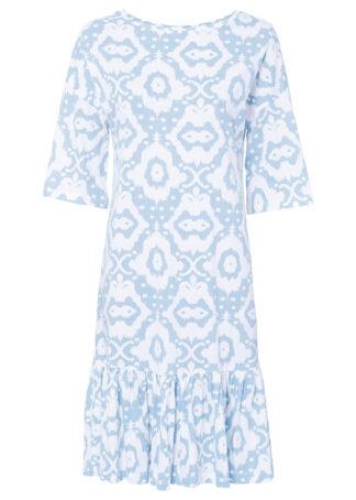 Sukienka shirtowa z falbaną bonprix pudrowy niebieski - biały w deseń paisley