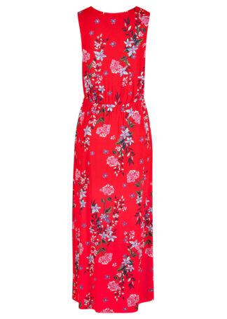 Długa sukienka w kwiaty bonprix truskawkowy w kwiaty
