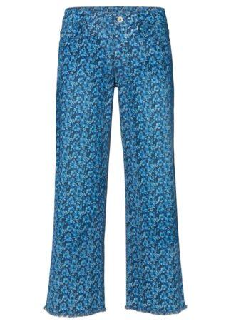 """Dżinsy culotte w kwiaty bonprix niebieski """"stone"""" w roślinny wzór"""