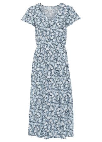 Sukienka midi z przyjaznej dla środowiska wiskozy bonprix pudrowy niebieski - biały w kwiaty