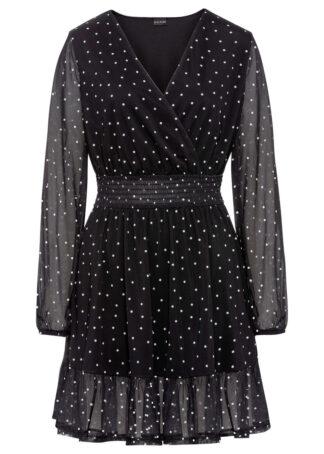 Sukienka z falbaną bonprix czarno-biel wełny w groszki