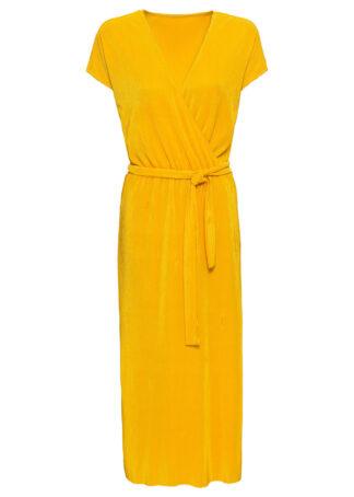 Sukienka shirtowa plisowana bonprix żółty szafranowy