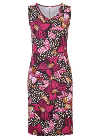 Sukienka shirtowa bonprix różowa magnolia z roślinnym nadrukiem