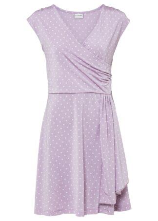 Sukienka z dżerseju w kropki bonprix dymny bez - biel wełny w kropki