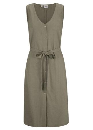 Sukienka lniana z wiązanym paskiem bonprix oliwkowy