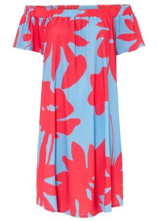 Sukienka z dekoltem carmen bonprix jasnoniebiesko-różowy w kwiaty