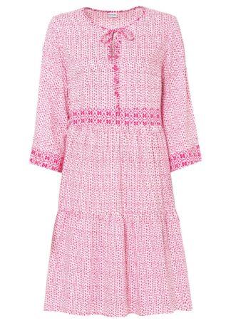 Sukienka tunikowa z przyjaznej dla środowiska wiskozy bonprix różowy magenta w graficzny wzór