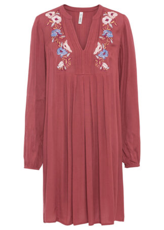 Lekka sukienka z haftem bonprix czerwony mahoniowy wzorzysty