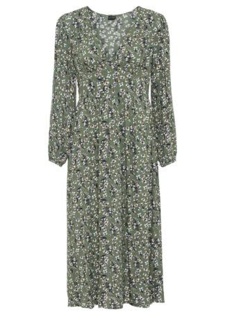 Sukienka bonprix oliwkowy w kwiaty
