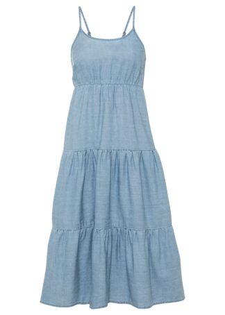 Sukienka oversize w optyce dżinsowej TENCEL™ Lyocell bonprix lodowy niebieski denim