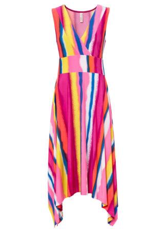 Sukienka bonprix różowo-żółto-niebiesko-biały w paski