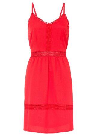 Sukienka z koronkową wstawką bonprix czerwony