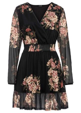 Sukienka z falbaną bonprix czarny w kwiaty