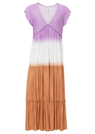 """Sukienka z dżerseju z efektem """"tie dye"""" bonprix kolor bzu - curry"""