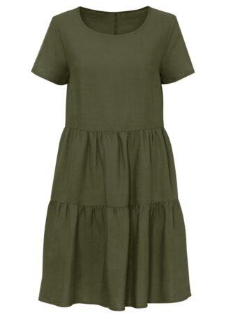Sukienka TENCEL™ Lyocell z lnem bonprix ciemny khaki