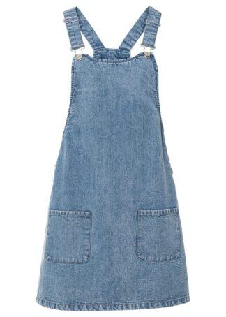 """Sukienka dżinsowa ogrodniczka bonprix niebieski denim """"washed"""""""