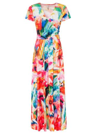 Sukienka w kwiaty bonprix pomarańczowo-czerwono-niebieski w kwiaty