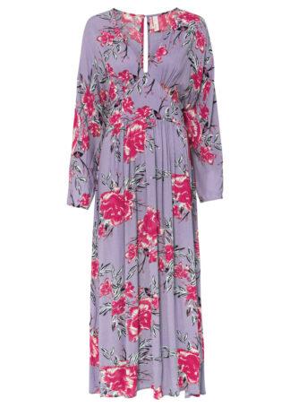 Długa sukienka bonprix kremowy bez w kwiaty
