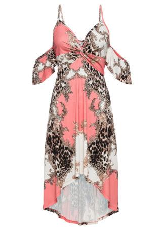 Sukienka letnia z dłuższym tyłem bonprix jasnoróżowo-biały w cętki leoparda