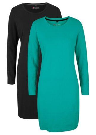 Sukienka z dżerseju (2 szt.) bonprix szmaragdowy + czarny