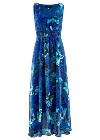 Długa sukienka szyfonowa bonprix niebieski z nadrukiem