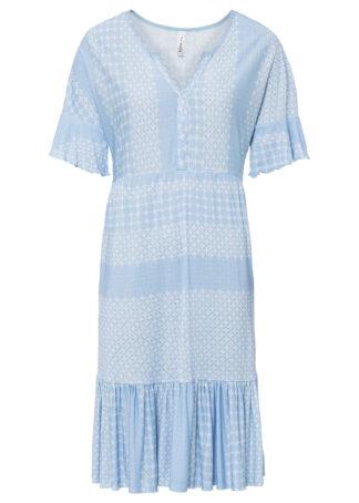 Sukienka z dżerseju z nadrukiem bonprix pudrowy niebieski - biały
