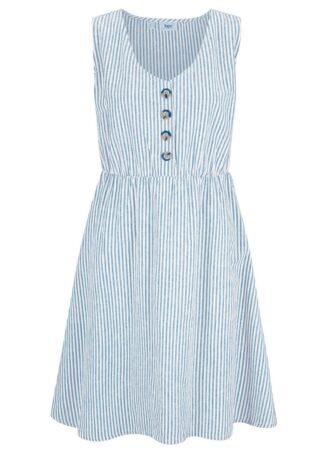 Sukienka lniana z plisą guzikową bonprix niebieski dżins - biel wełny w paski