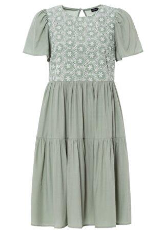 Sukienka z ażurowym haftem bonprix zielony