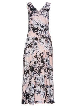 Sukienka maxi bonprix pastelowy jasnoróżowy z nadrukiem