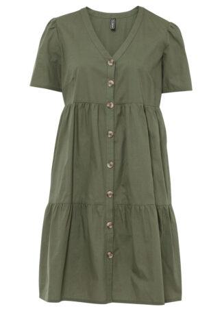 Sukienka koszulowa z plisą guzikową bonprix oliwkowy