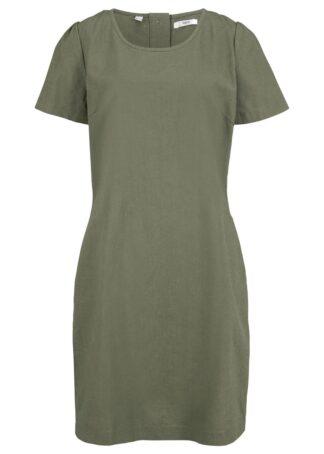 Sukienka lniana z plisą guzikową z tyłu bonprix oliwkowy