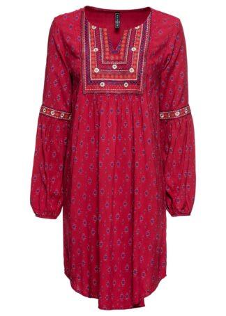 Sukienka z haftem bonprix ciemnoczerwony z nadrukiem