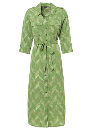 Sukienka szmizjerka z wiązanym paskiem bonprix zielony leśny z nadrukiem