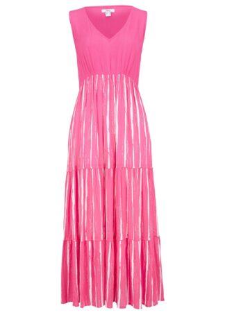 """Długa sukienka z tkaniny z kreszowanej wiskozy bonprix różowy """"pinklady"""" - biały w paski"""